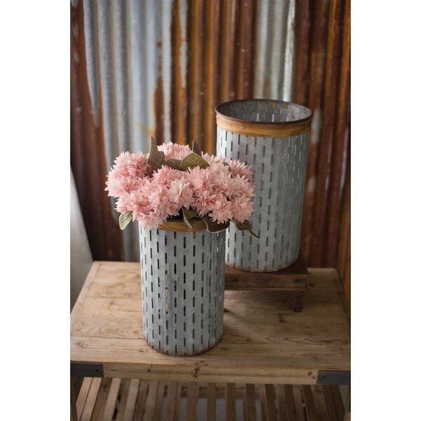 Wolfgram Cylinder 2-Piece Rustic Wood Detail Metal Pot Planter Set by Gracie Oaks