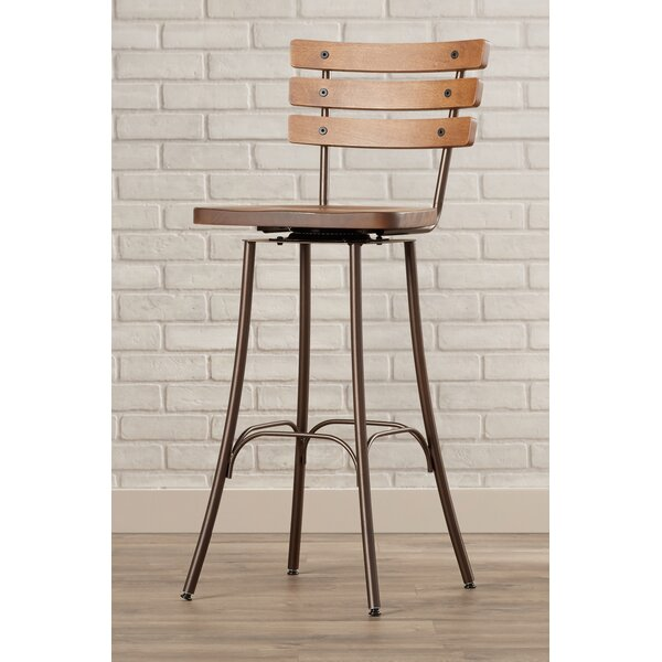 Shanta 29.5 Brown Swivel Bar Stool by 17 Stories
