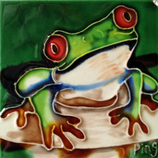 Frog on A Rock Tile Wall Decor by Continental Art Center