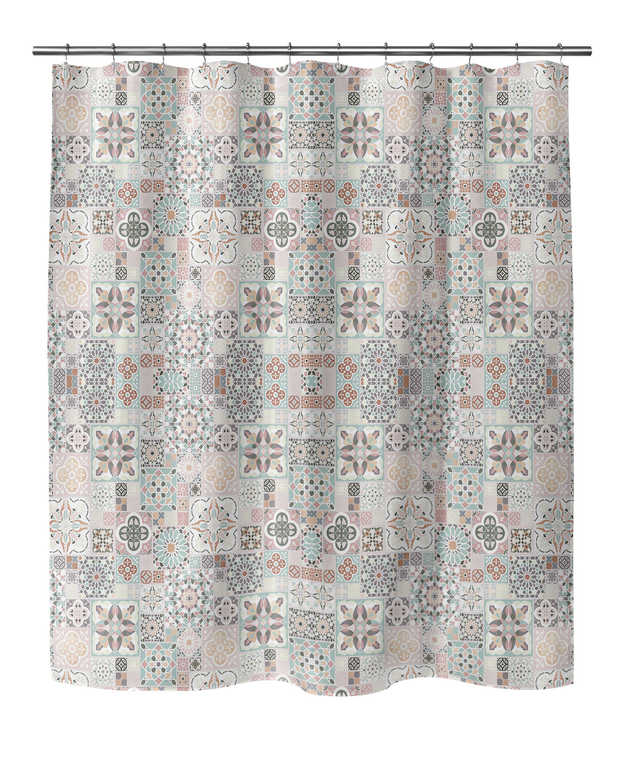 Bungalow Rose Chrisman Tiles With Gold Shower Curtain