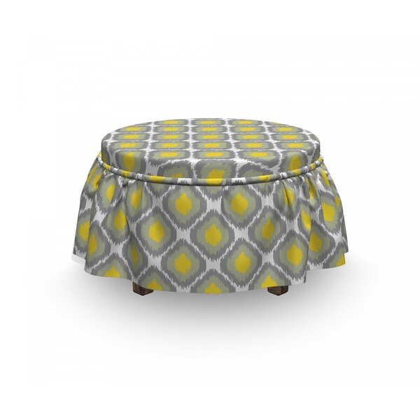 Ikat Vintage Abstract Rhombus 2 Piece Box Cushion Ottoman Slipcover Set By East Urban Home