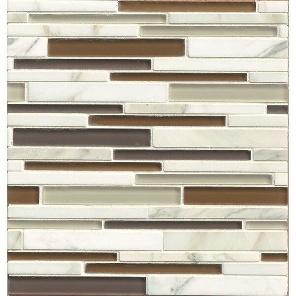 Interlude Random Sized Glass and Stone Mosaic Tile  in Encore by Bedrosians
