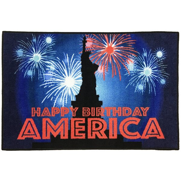 Tennessee Fourth of July Statue of Liberty Red/Blue/Black Area Rug by The Holiday Aisle