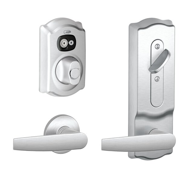 FE Series Camelot Interconnected Handleset with Electronic Deadbolt and Jupiter Levers by Schlage