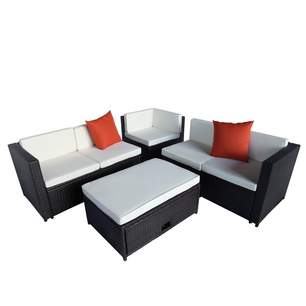 Aneet Outdoor L-Shape 4 Piece Rattan Sectional Seating Group with Cushion by Latitude Run