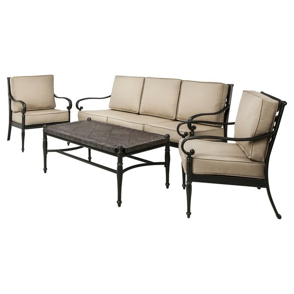Brodbeck 4 Piece Rattan Sunbrella Sofa Seating Group with Cushions (Set of 4) by Darby Home Co