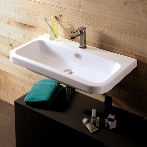 Electra Ceramic 32 Wall Mount Bathroom Sink with Overflow by Ceramica Tecla by Nameeks