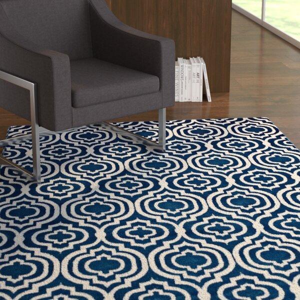 Oak Brook Frame Transitional Trellis Moroccan Blue/Ivory Area Rug by Ebern Designs