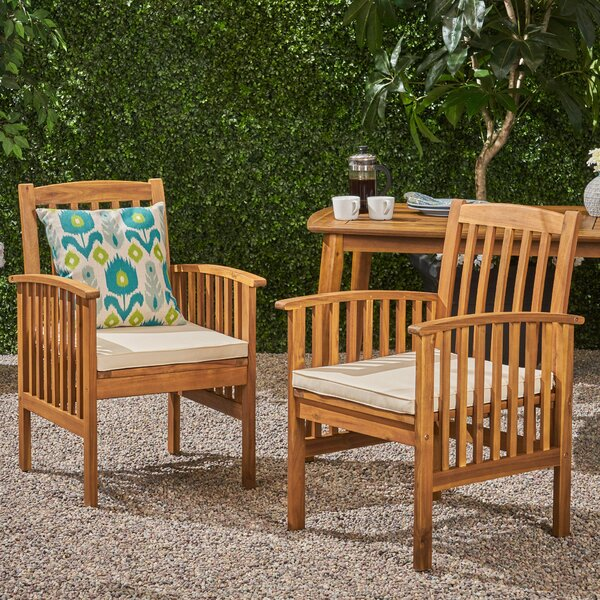 Safira Patio Dining Chair with Cushions (Set of 2) by Beachcrest Home
