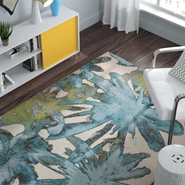 Audrina Teal Floral Area Rug by Zipcode Design
