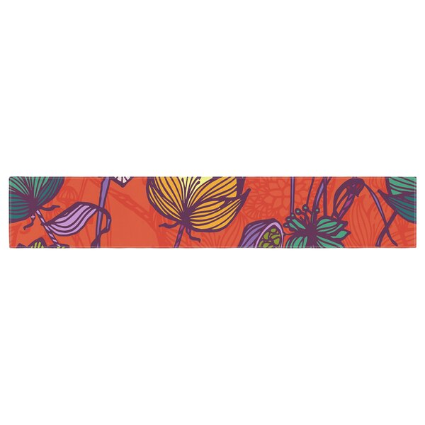 Gill Eggleston Garden Blooms Hot Floral Table Runner by East Urban Home
