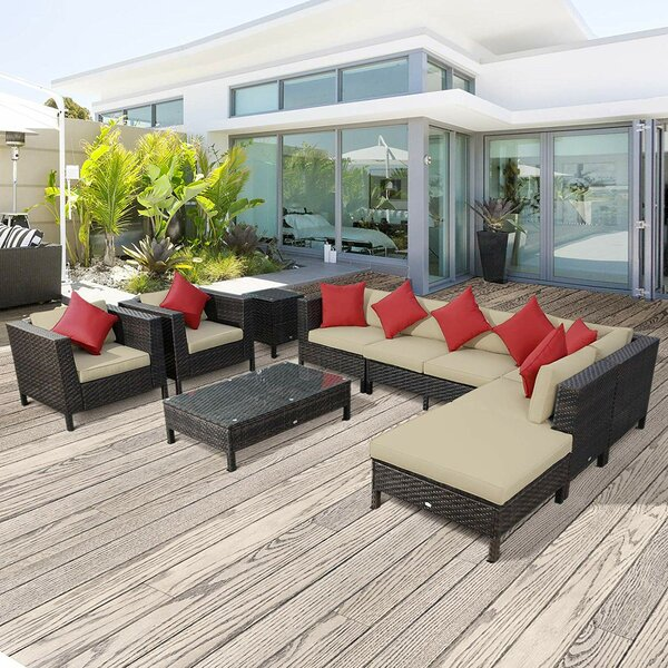 Lutie 9 Piece Sectional Seating Group with Cushions by Sol 72 Outdoor