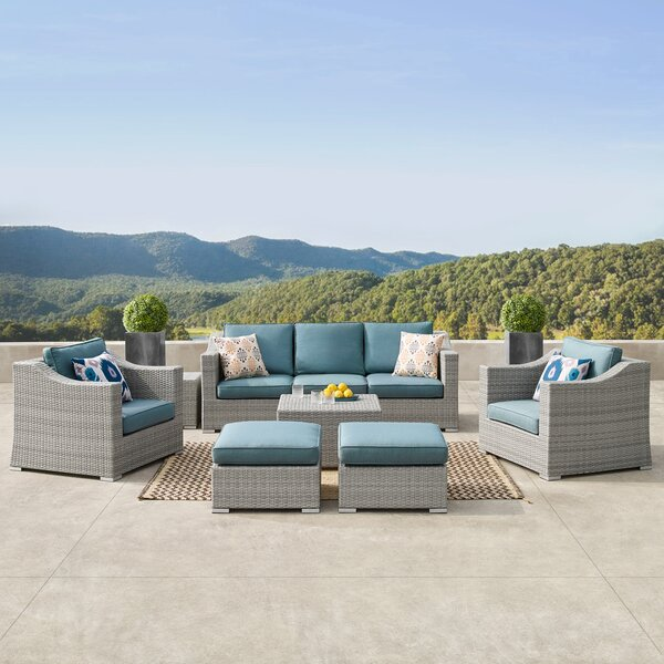 Boyce 9 Piece Rattan Sectional Seating Group with Cushions by Rosecliff Heights