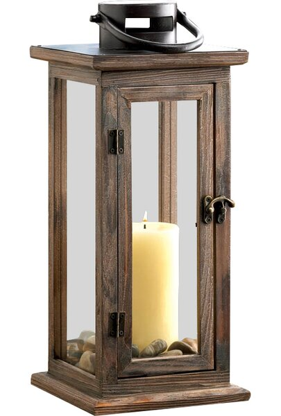 Wood/Glass Lantern by Beachcrest Home