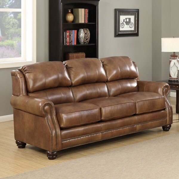 Forester Wingback Leather Sofa by Darby Home Co