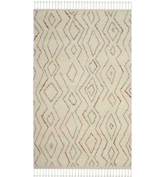 Glenoe Hand-Knotted Ivory Geometric Area Rug by Bloomsbury Market