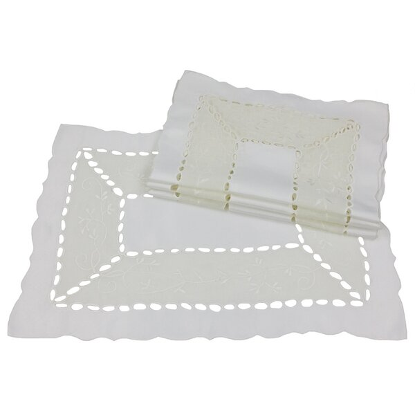 Simply Divine Embroidered on Sheer Cutwork Placemat (Set of 4) by Xia Home Fashions