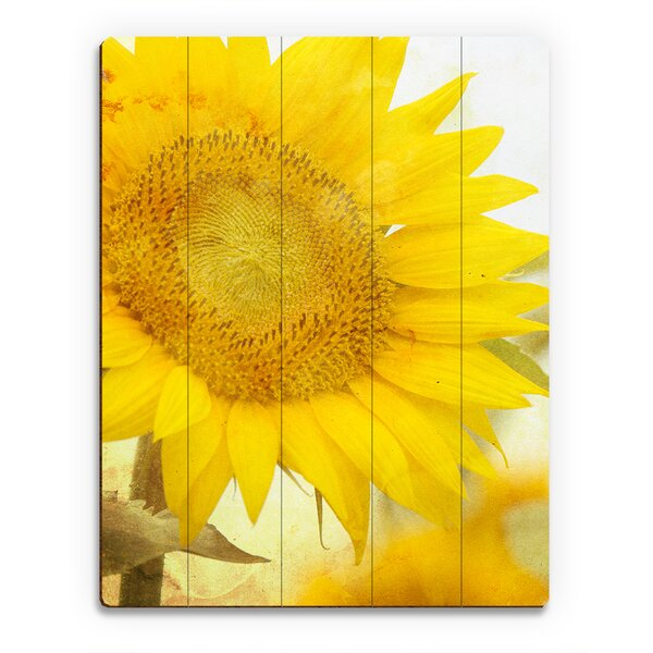 Wood Slats Sunflower Photographic Print on Plaque by Click Wall Art