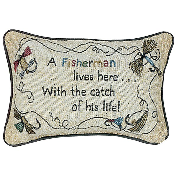 A Fisherman Lives Here His Life Word Lumbar Pillow by Manual Woodworkers & Weavers