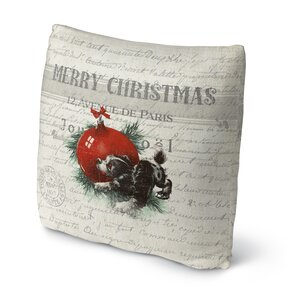 Konner Christmas Puppy Outdoor Throw Pillow