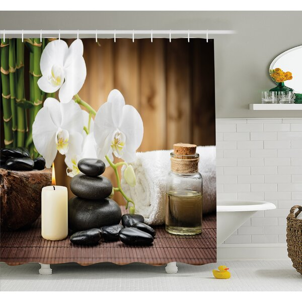 Spa Asian Style Decoration with Zen Stones Candle Flowers and Bamboo Shower Curtain Set by Ambesonne