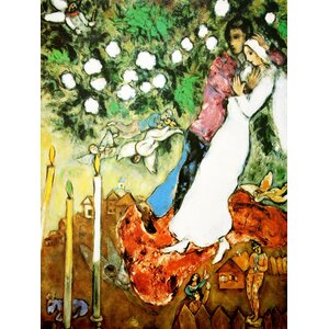 'The Three Candels' by Marc Chagall Painting Print on Wrapped Canvas by Buy Art For Less