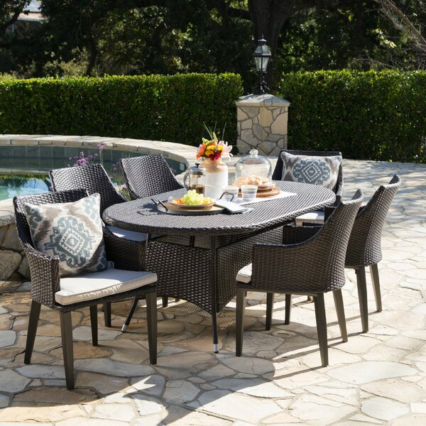 Backlund Outdoor Wicker 7 Piece Dining Set with Cushions by Ivy Bronx