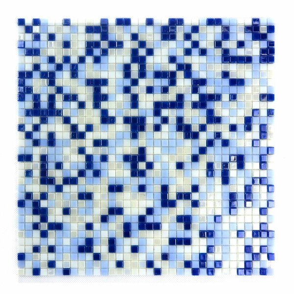 Galaxy Straight 0.31 x 0.31 Glass Mosaic Tile in Blue/White by Abolos