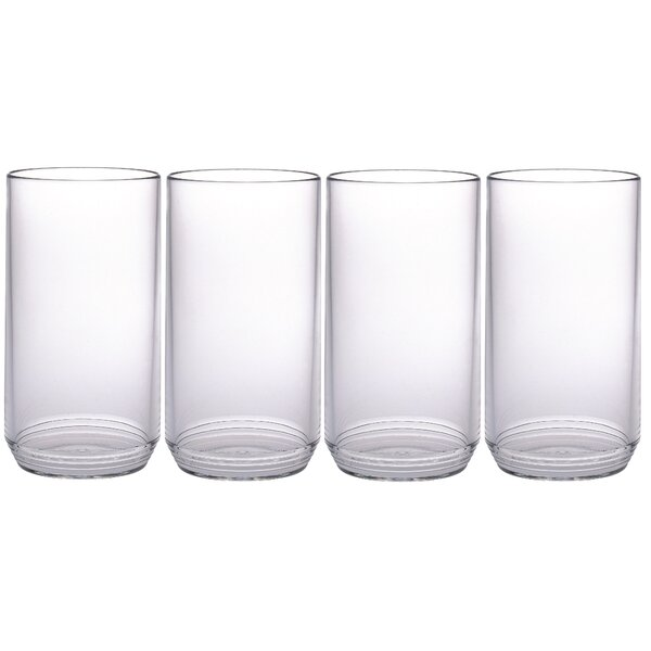 Ribbed 14 oz. Acrylic Highball Glass (Set of 4) by Chenco Inc.