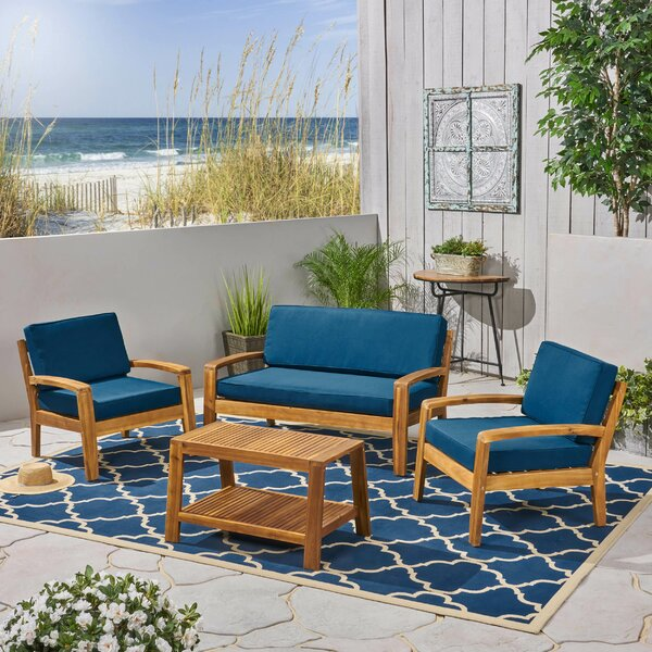 Sondra 4 Piece Sofa Seating Group with Cushions by Highland Dunes