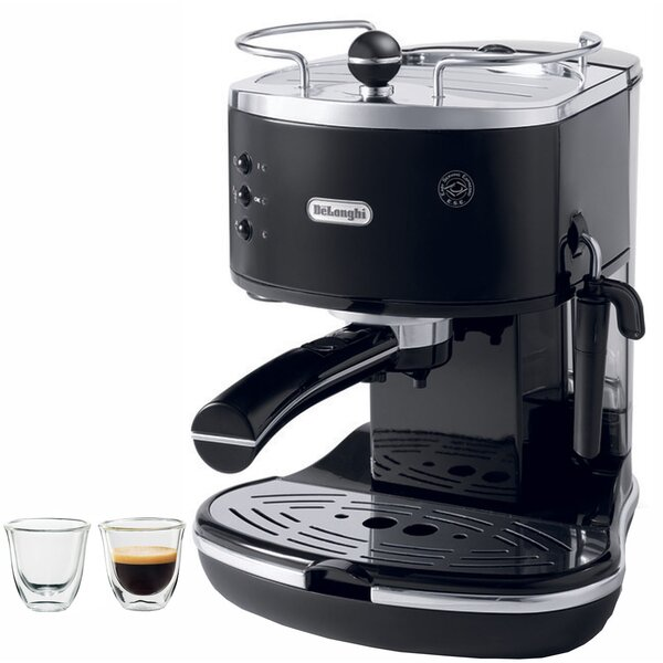 Icona 15-Bar Pump Driven Semi-Automatic Espresso Machine and 2 Espresso Glasses by DeLonghi