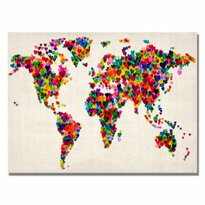 Hearts World Map by Michael Thompsett Graphic Art on Canvas by Trademark Fine Art