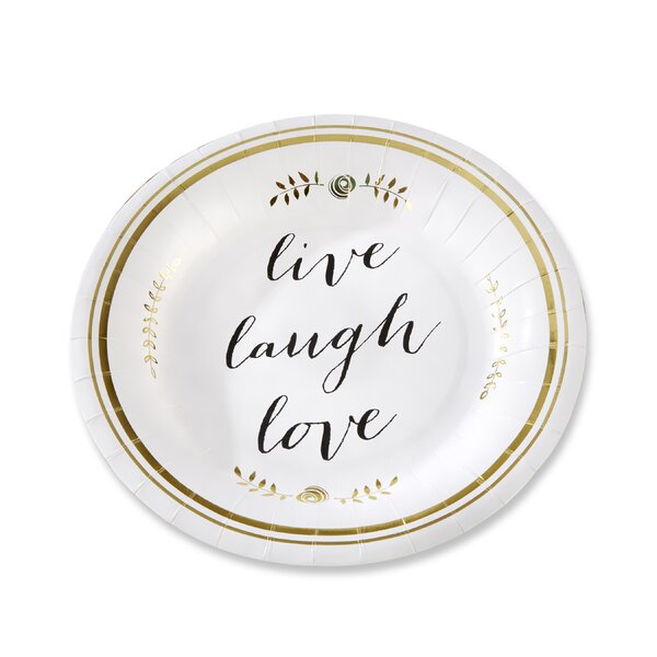 Live, Laugh, Love Paper Dessert Plate (Set of 8) by Kate Aspen