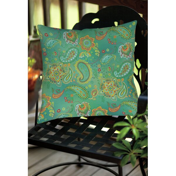 Aqua Bloom Paisley Indoor/Outdoor Throw Pillow by Manual Woodworkers & Weavers