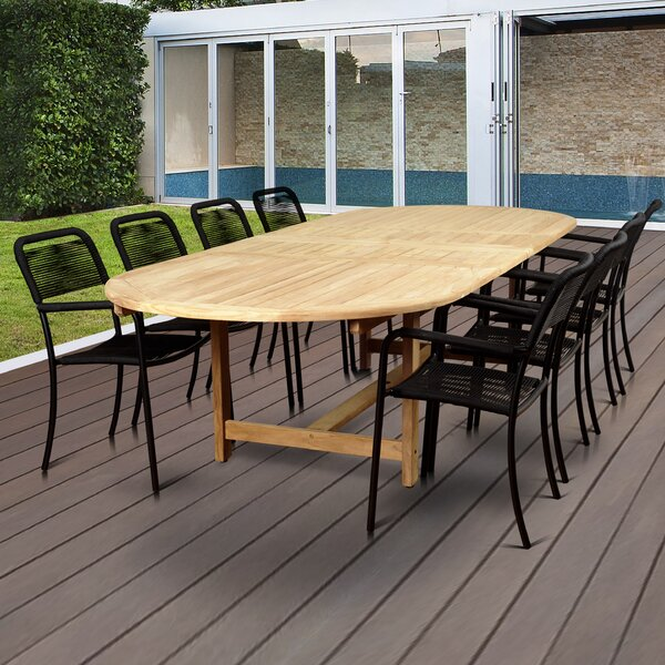 Nettleton Teak 9 Piece Dining Set by Beachcrest Home