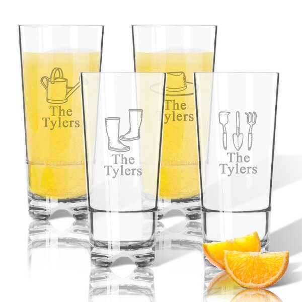Personalized 4 Piece Gardener Tritan 16 oz. High Ball Glass by Carved Solutions