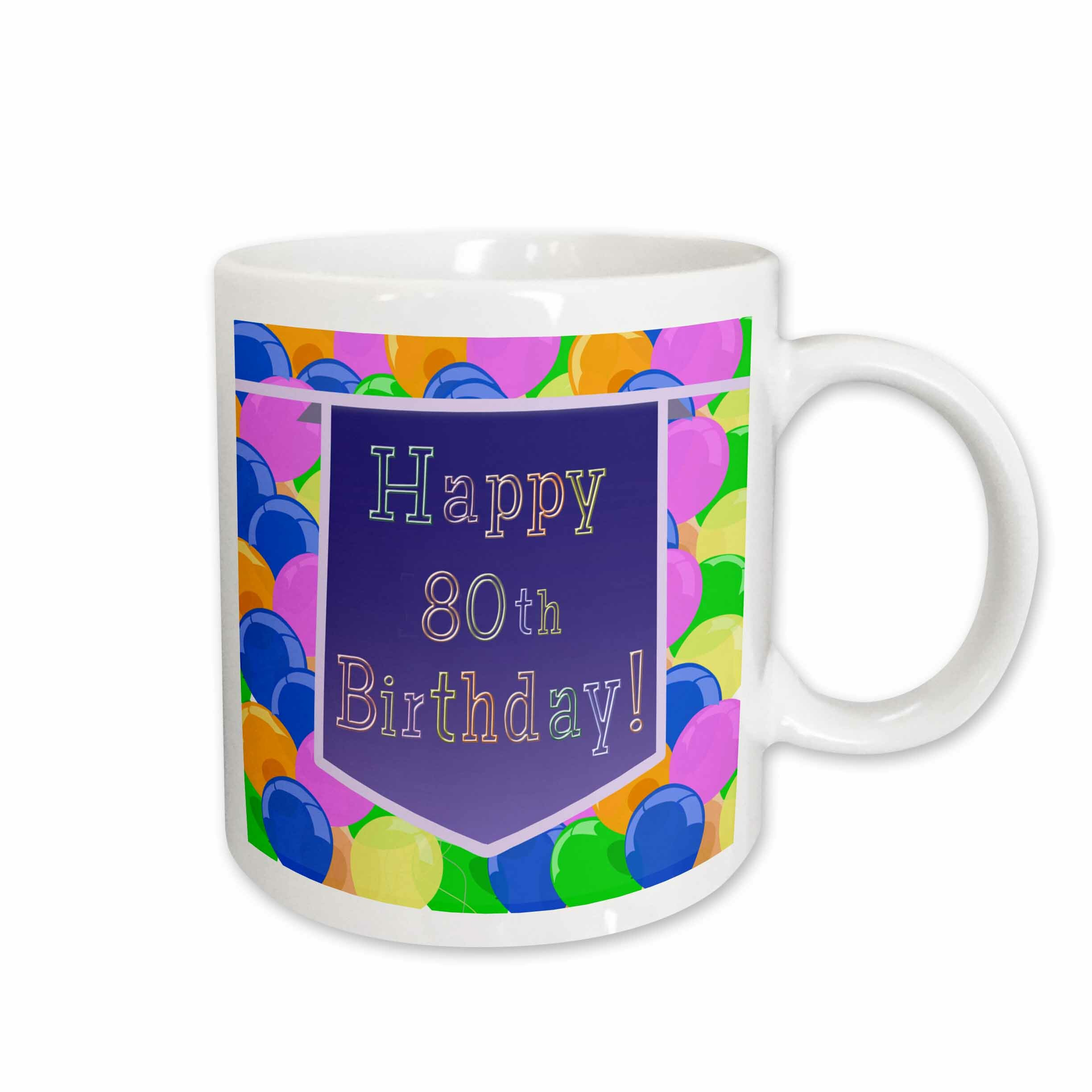 East Urban Home Balloons With Banner Happy 80th Birthday Coffee Mug