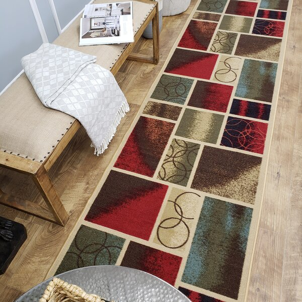 Beauchamp Square Red/Green Area Rug by Andover Mills