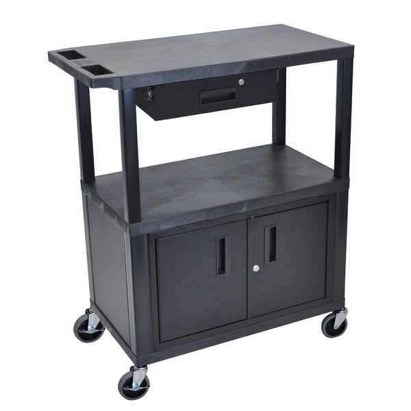 AV Cart with 3 Shelves/Cabinet and Drawer by Luxor