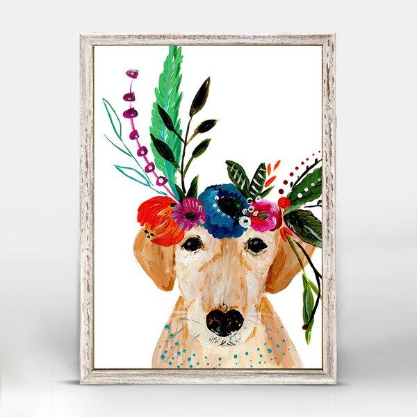 Casey Boho Golden Dog Mini Framed Canvas Art by Bungalow Rose