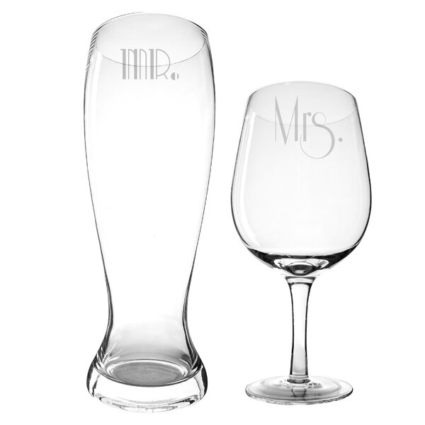 Gatsby 2 Piece Mr. and Mrs. Glass Set by Cathys Co