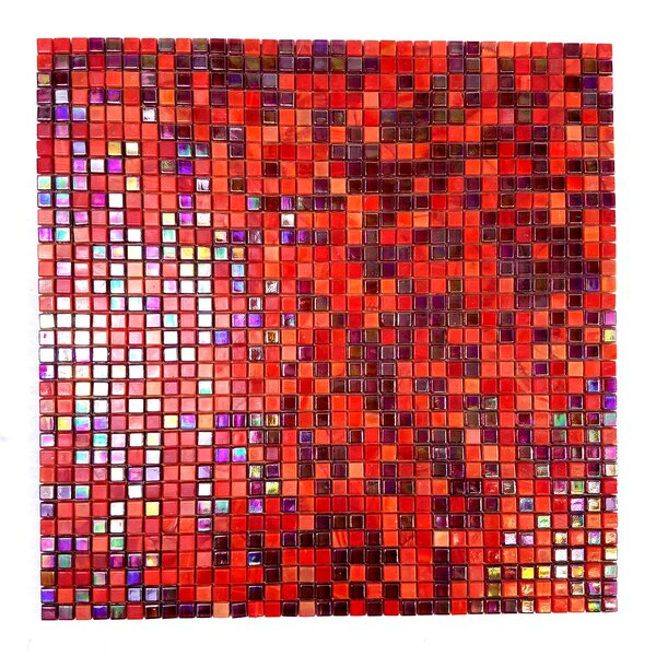 Galaxy Straight 0.31 x 0.31 Glass Mosaic Tile in Red by Abolos
