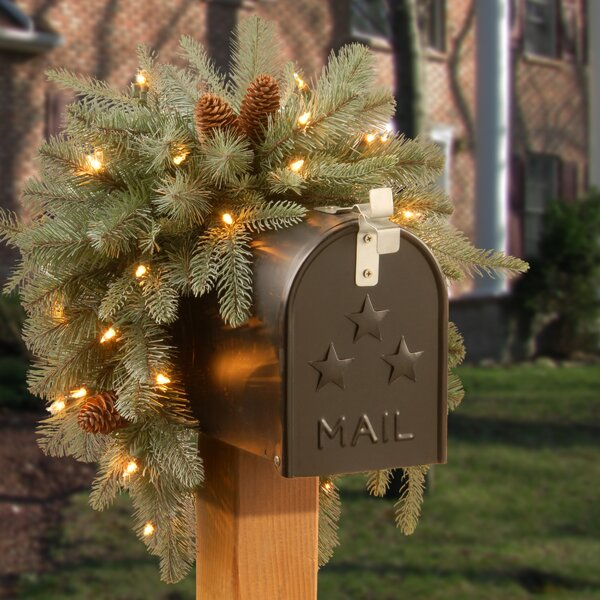 Frosted Arctic Spruce Pre-Lit Mailbox Swag by Ando