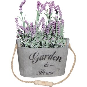 2 Piece Silk Lavendar Flower Arrangement in Planters (Set of 2)
