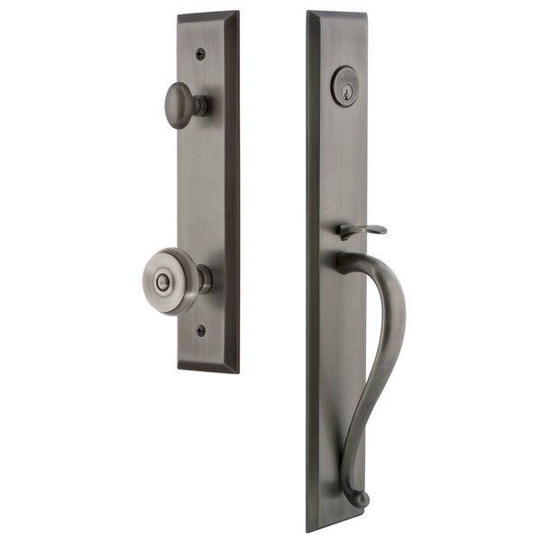 Fifth Avenue S Grip Single Cylinder Handleset with Bouton Interior Knob by Grandeur
