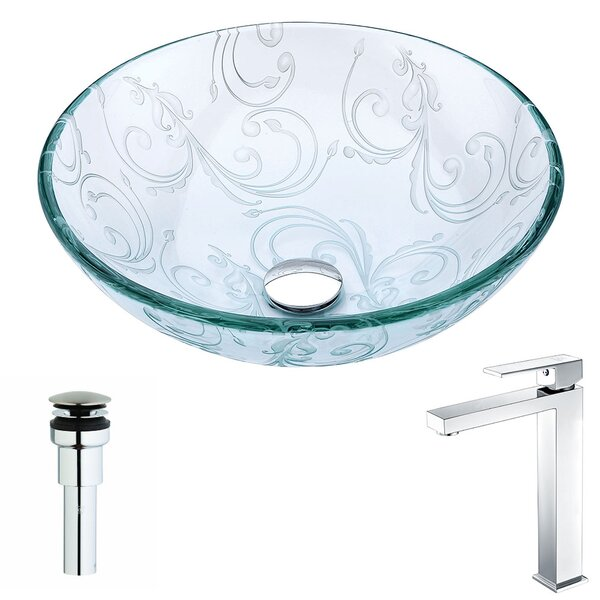 Vieno Glass Circular Vessel Bathroom Sink with Faucet by ANZZI