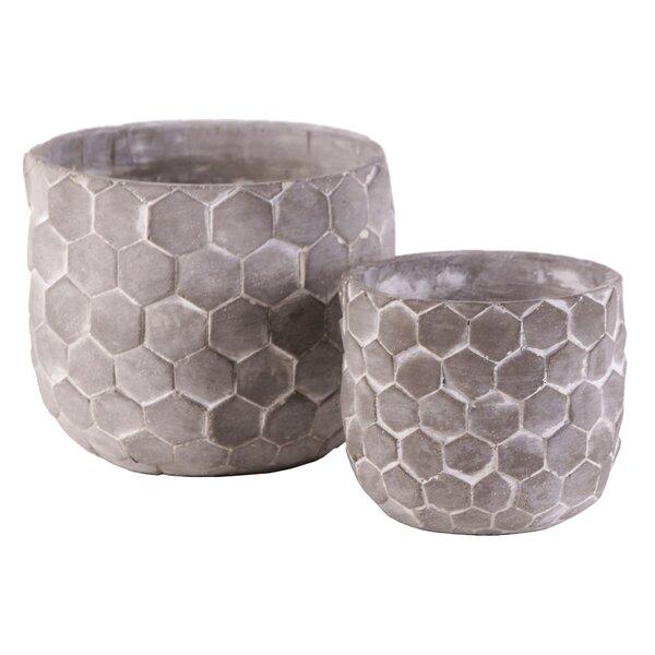 2-Piece Cement Pot Planter Set (Set of 2) by Wrought Studio
