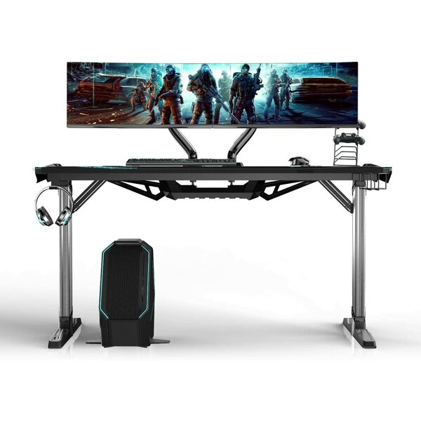 T Shaped Curved Front Large Gaming Desk