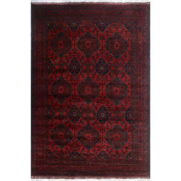 One-of-a-Kind Alsup Hand-Knotted Wool Red Are Rug by Isabelline