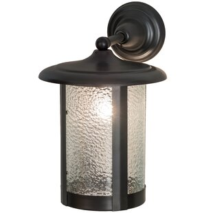 Compare prices Greenbriar Oak 1-Light Outdoor Wall Lantern By Meyda Tiffany
